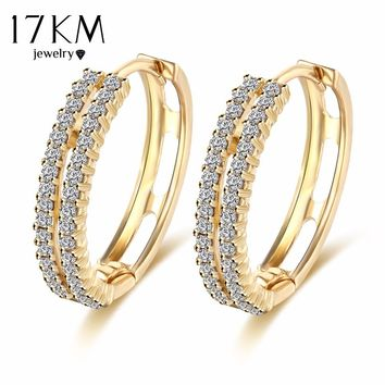 17KM Vintage Punk Gold Color Crystal Earrings for Women Simple Boho Wedding Jewelry Ear Cuff Brincos Statement Bijoux Femme
