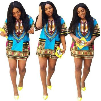 DCCKION African Print   Dress Straight Print Above Knee Dresses