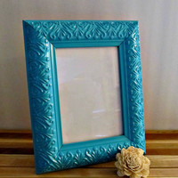 Upcycled Picture Frame - Teal Blue - Rustic, Beach, Bohemian Home Decor