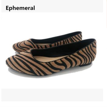 Ladies flats shoes horse hair new arrivals 2017 loafers women leopard print slip-ons comfortable pointed toe plus size 45 46 44