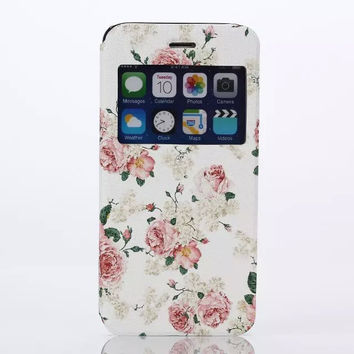 Floral Print Leather creative case Cover for iPhone 6S 6 Plus Samsung Galaxy S6