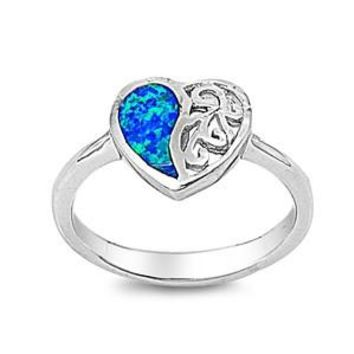 Sterling Silver Half Heart Filigree 11MM Blue Lab Opal Ring