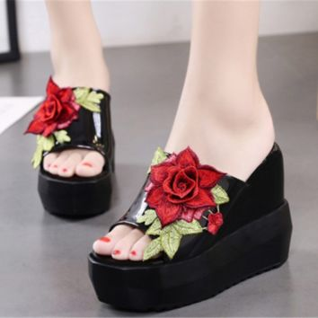 Fashion Womens Embroidery Floral High Wedge Heel Sandals Platform Slippers