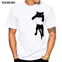 TEEHEART 2017 Summer Funny Cat in Pocket Design T Shirt Men's   Animal Graphics Printed Tops Hipster Tees la661
