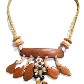 Native SYMBOLS Wood Leather Jewelry Necklace Genuine Handmade Indian American