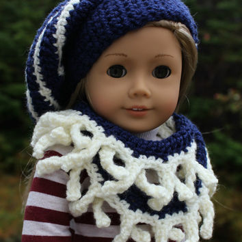 navy and white stripe beret style crochet slouch hat with fringe infinity scarf, 18 inch doll clothes, American girl Maplelea