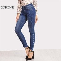 Women Blue High Waist Raw Hem Pocket Casual Pants With Pearls