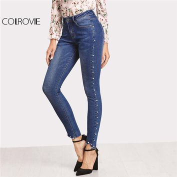 Pearl Beaded Skinny Jeans Women Blue High Waist Hem Pocket Casual Pants With Button Fly, Zipper Fly