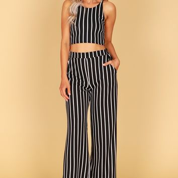 Striped Elastic Pants Black