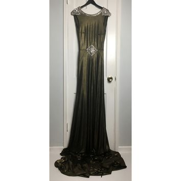 Johanna Johnson haute couture gold jersey embroidered evening gown sz 6