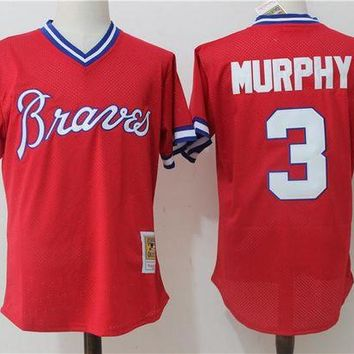 ONETOW Men's Atlanta Braves Dale Murphy Mitchell & Ness Red 1980 Authentic Cooperstown Collection Mesh Batting Practice Jersey