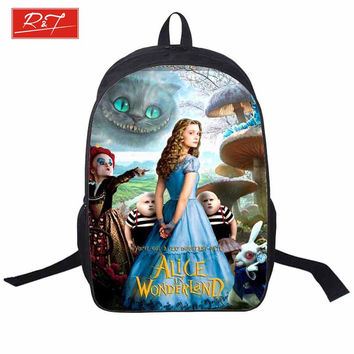 2016 Movie Alice In wonderland Backpacks For Teenage Girls 3D Printing Backpage Women Waterproof Sport Bag School Bags Mochila