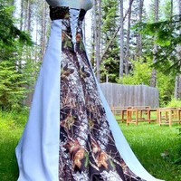 NEW Camo Wedding Gown -Mossy Oak SATIN camo- MADE ONLY IN USA!