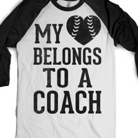 My Heart Belongs To A Coach (Baseball Tee)-White/Black T-Shirt