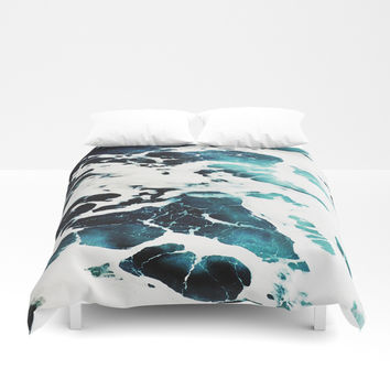 Dark Ocean Waves Duvet Cover by cadinera