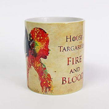 Game of Thrones Mug Watercolor Art Cup Coffee Mug Daenerys Targaryen Cup Tea Mug Birthday Gift Coffee Cup House Targaryen Art Fire and Blood