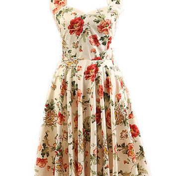 Beige Floral Sleeveless Halter Backless Sheath A-line Mini Skater Dress