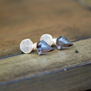 Compass Studs - Smoky Quartz