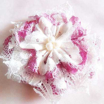 Shabby Chic Lace Flower Hair Accessories, Boho, Bohemian Style, Whimsical Pink and Off White Hair Clips with Pearls