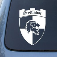 "(2x) Gryffindor Shield Inspired by Harry Potter Car Sticker Auto Emblem Vinyl Decal(WHITE 6"" CD-0363)"