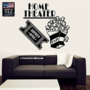 Wall Decal Vinyl Sticker Decals Art Decor Design Sign Home TheaTer Movie Film Ticket Family Pop Corn Night Friends Bedroom Dorm Modern(r385)
