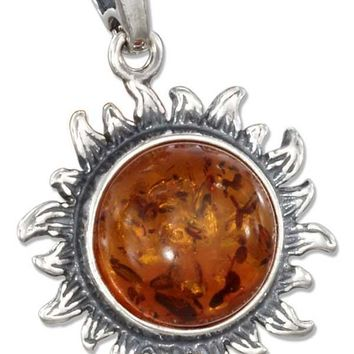 Sterling Silver Charms:  Antiqued Honey Amber Sun Pendant