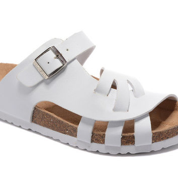 2017 Birkenstock Summer Fashion Leather White Cork Flats Beach Lovers Slippers Casual Sandals For Women Men Couples Slippers