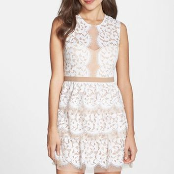 Women's BCBGMAXAZRIA 'Sophea' Tiered Lace Fit & Flare Dress