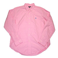 Vintage Polo by Ralph Lauren Pink Classic Fit Button Down Shirt Mens Size Large