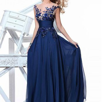 [99.99] Chic Tulle & Chiffon Jewel Neckline Floor-length A-line Prom Dress - Dressilyme.com