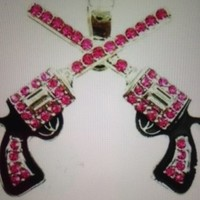 Cowgirl Six Shooter, Hot Pink Rhinestone Bling Pendant, Sassy Sparkles N Spurs