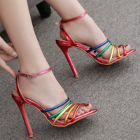 Hot style sells colorful buckle strappy sandals
