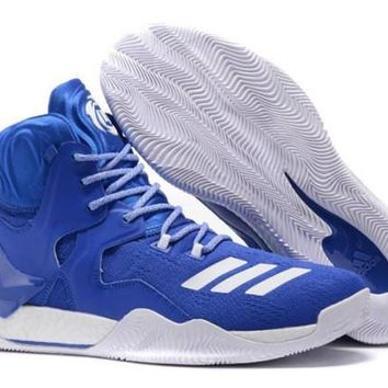 Latest Style Adidas D Rose 7 Primeknit Royal Blue White Derrick Men's Basketball Shoes