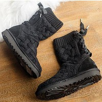 CHEN1ER UGG' female fashion wool snow boots wool shoes Black