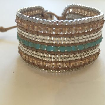 Valerie Bracelet - Blue & Cream