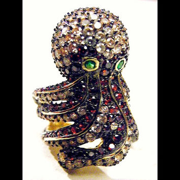 Steampunk Glam Cthulhu Octopus Ring Vintage Sterling Silver Gold Garnet and Champagne CZ
