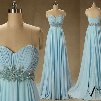 2014 New Arrival Sweetheart Sleeveless Beaded Crystal A Line Long Formal Crystal Blue Prom Dresse 2014 Formal Evening Dresses