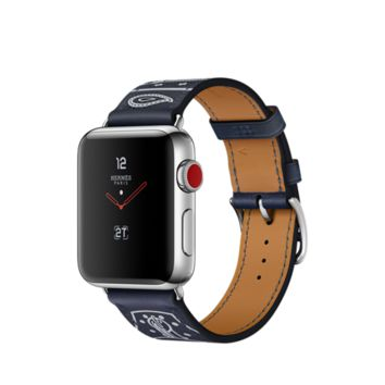 Apple Watch Hermès GPS + Cellular, 38mm Stainless Steel Case with Marine Gala Leather Single Tour Eperon d'Or