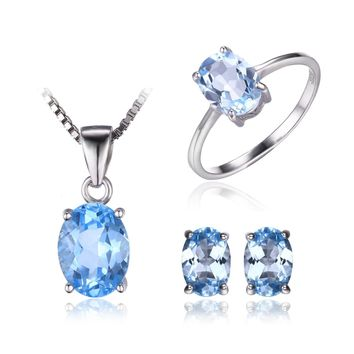 Jewelry Palace Sky Blue Topaz Sets Ring Stud Earrings Pendant Necklace 925 Sterling Silver