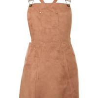 Zuri Faux Suede Dungaree Dress in Tan Brown