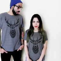 DEER T shirts set for couple, his and hers t shirts. Mens and womens. Gift for couple ,wedding or anniversary. For animal and nature lovers.