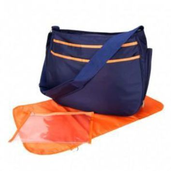 Diaper Bag - Navy Blue And Orange Ultimate Hobo
