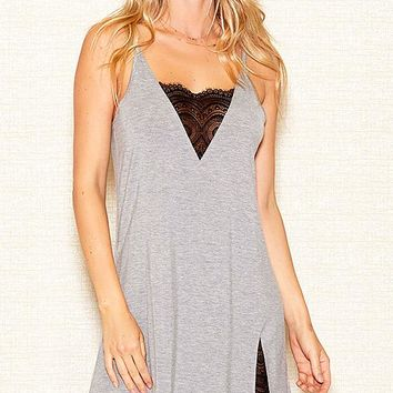 Heather Gray Stretch Knit Chemise w/Lace Inserts (Small-3X)