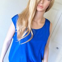 Hello Spring Sale Vintage 80's Bright Egyptian Blue Tank Style Blouse/Top