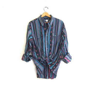Vintage urban western shirt. Embroidered button up shirt. Geometric print shirt. southwestern baja shirt.