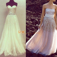 2014 Strapless Sequins Champagne Prom Dresses Long Evening Party Formal Gowns