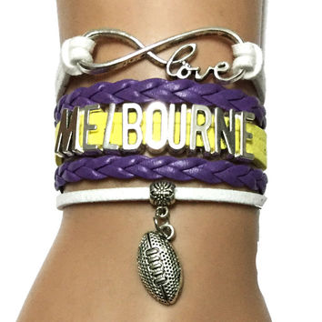 Drop Shipping Infinity Love Melbourne Bracelet-Custom NRL Football Team Bracelet Sports Friendship Gift