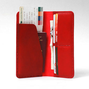 Leather Passport Cover / Passport Wallet / Personalized Passport Holder / Boarding Pass Case, Handmade Hand-stitched, Red