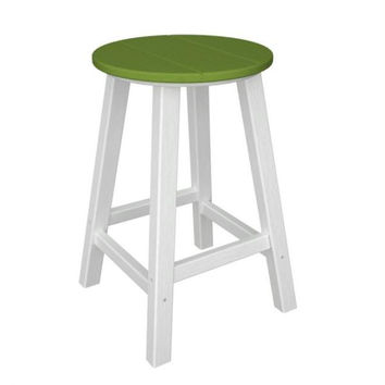 2 Bar Stools - Lime Green Seat And White Legs