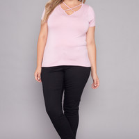 Plus Size Cross Front Tee - Pink